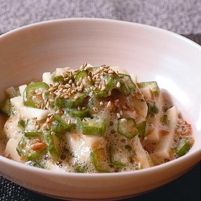 オクラと大和芋の梅ポン酢和え