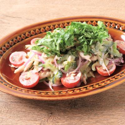 ささみとたっぷり香味野菜のタイ風サラダ
