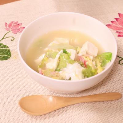 レタスとカニカマのかきたまスープ