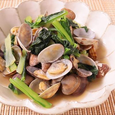 小松菜とアサリのうま煮