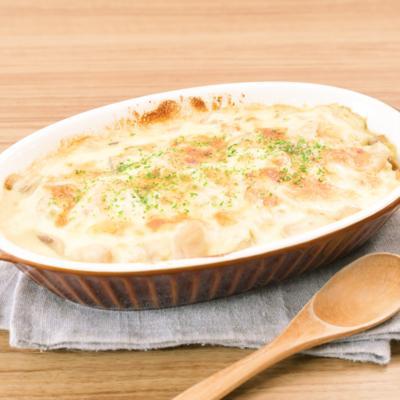 マッシュルームと鶏もも肉の豆乳味噌クリームドリア