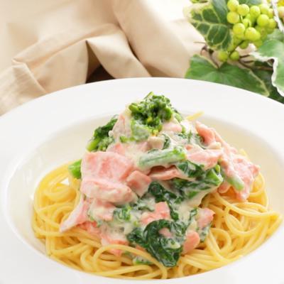 サーモンと菜の花のクリームスパゲティ