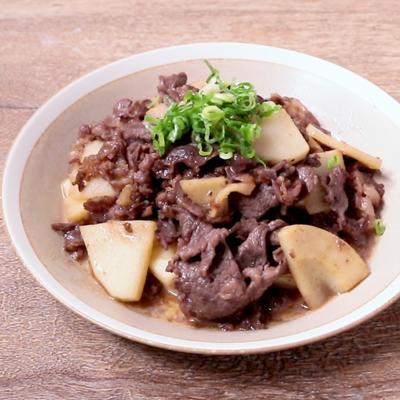 タケノコと牛肉のめんつゆバター炒め
