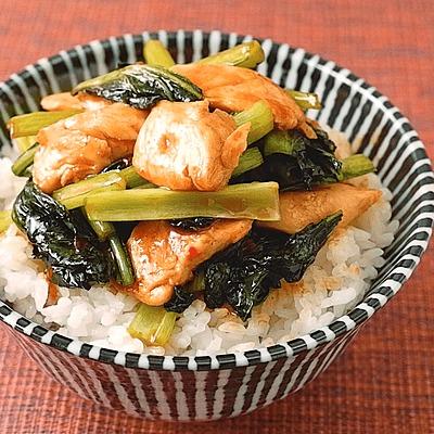 鶏ささみと小松菜のピリ辛丼