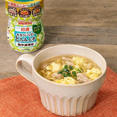卵がとろふわ!豚ひき肉ともやしの中華スープ