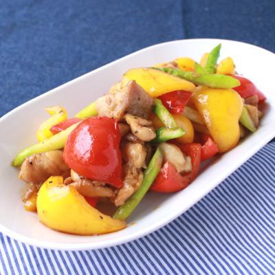 3色野菜の鶏肉オイスターソース炒め