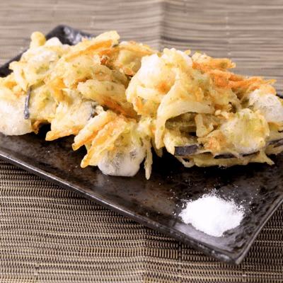 お餅入り 桜えびとあおさの野菜かき揚げ