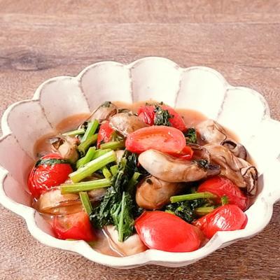 かき菜と牡蠣のさっぱり炒め