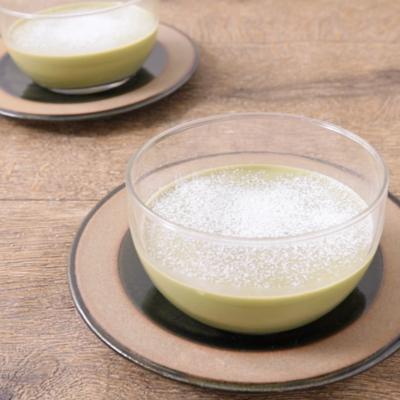 あずきと豆乳の抹茶プリン