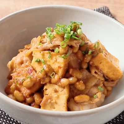 大豆と豚バラ肉と厚揚げのピリ辛炒め