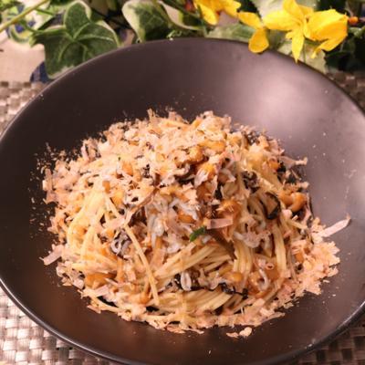 簡単 塩昆布のねばねば冷製スパゲティ