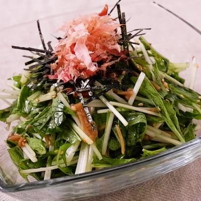 水菜の和風なめたけ梅サラダ