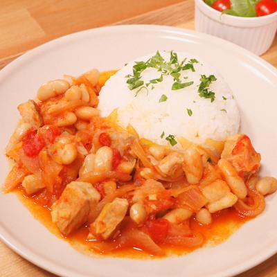 豚肉と白いんげん豆の和風トマト煮