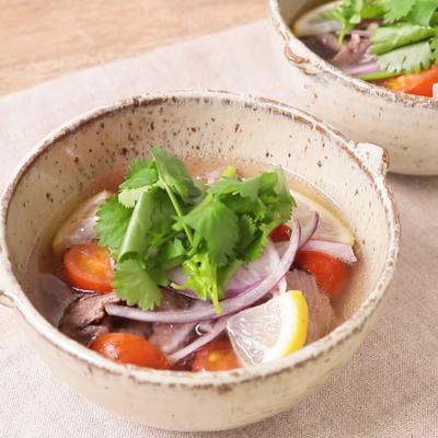 牛肉とミニトマトのエスニックスープ