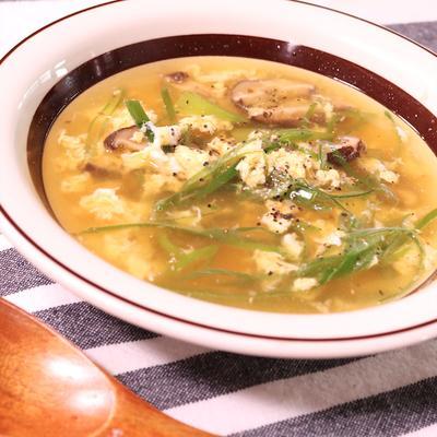 しいたけの中華風たまごスープ