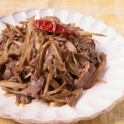 牛肉とごぼうとミョウガの甘辛炒め
