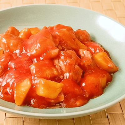 鶏もも肉とパイナップルの甘酢あん炒め