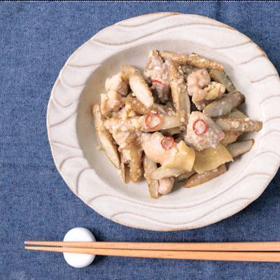 塩麹で漬け込む 鶏とごぼうの炊き合わせ
