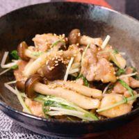 簡単!鶏もも肉と水菜の甘辛味噌炒め