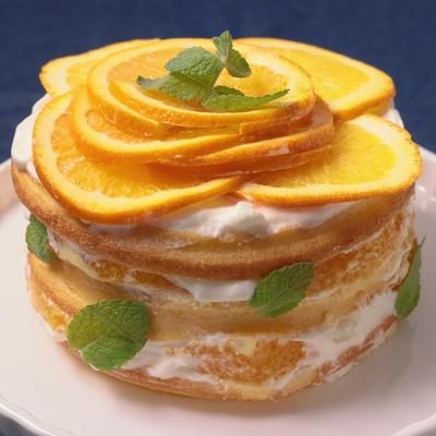 市販のバームクーヘンで作る オレンジネイキッドケーキ