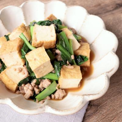 小松菜と厚揚げのオイスター炒め