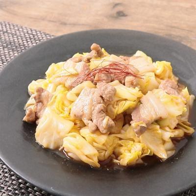 厚切り豚バラ肉とキャベツの旨辛炒め