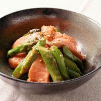 アスパラとサーモンの韓国風酢味噌和え
