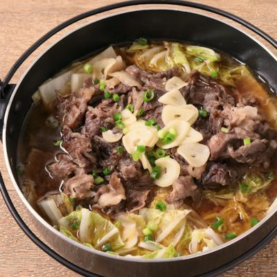 長ねぎたっぷり やわらか白菜と牛肉の鍋