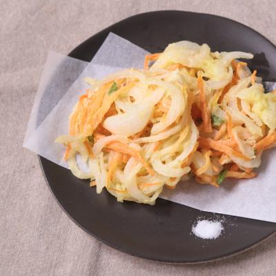 新たまねぎの野菜かき揚げ