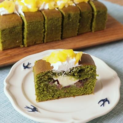 抹茶のチーズあんパウンドケーキ