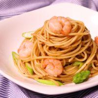 エビとアスパラのオイルスパゲティ バルサミコ風味