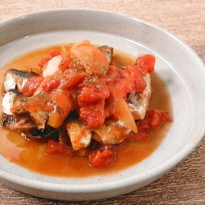 圧力鍋でやわらかイワシのトマト煮