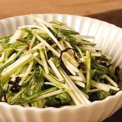 水菜のマヨ塩昆布和え