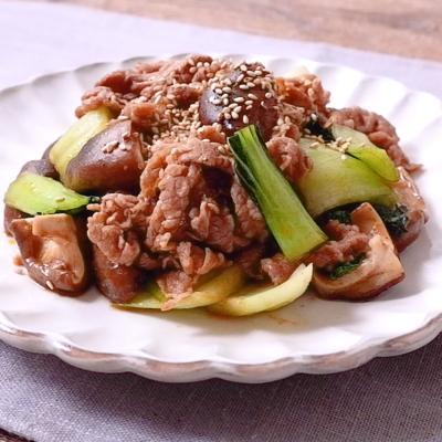 牛肉とチンゲン菜の甘辛炒め
