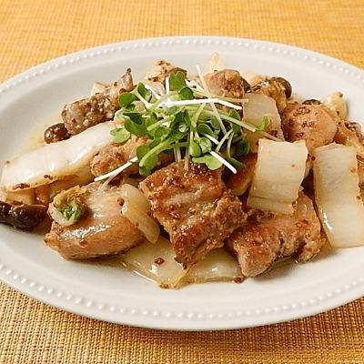 豚バラブロックと白菜の洋風チーズ炒め