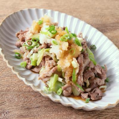 長ねぎと豚こま切れ肉の炒め ポン酢大根おろしのせ