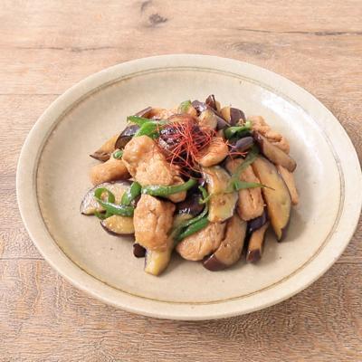 大豆ミートとナスの炒め物