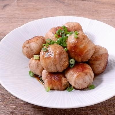 冷凍たこ焼きの豚バラ肉巻き
