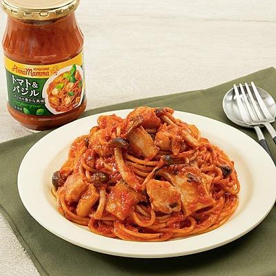 おうちで本格!鶏ときのこのトマトスパゲティ