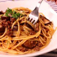 こんなに簡単!茄子とひき肉のボロネーゼ風パスタ