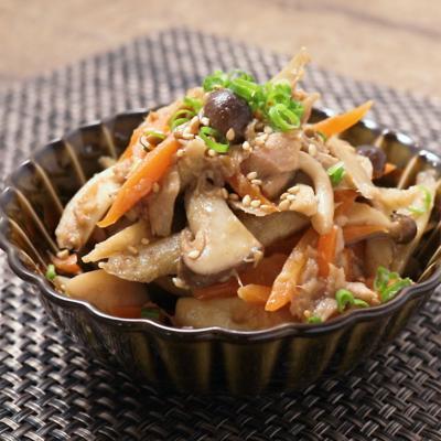 根菜ときのこのツナマヨきんぴら