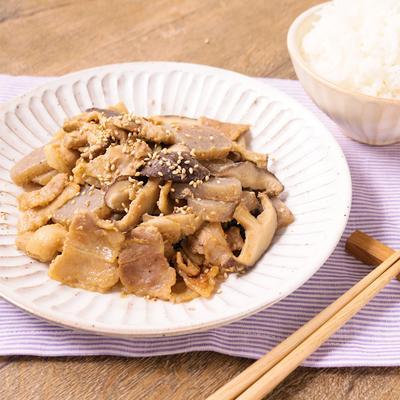 ごはんがすすむ しいたけと豚バラ肉の味噌炒め