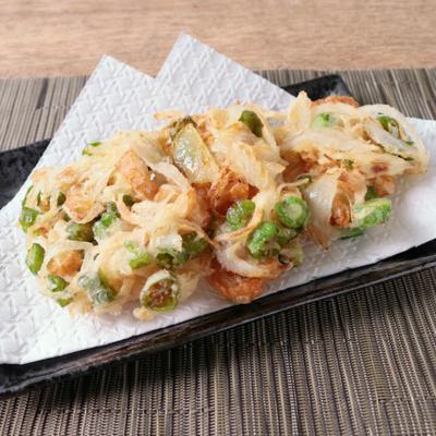 ししとうと新生姜の甘酢漬けのかき揚げ