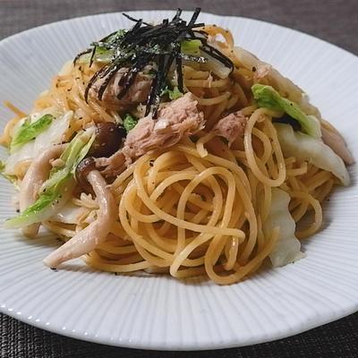 白菜とツナの和風スパゲティ