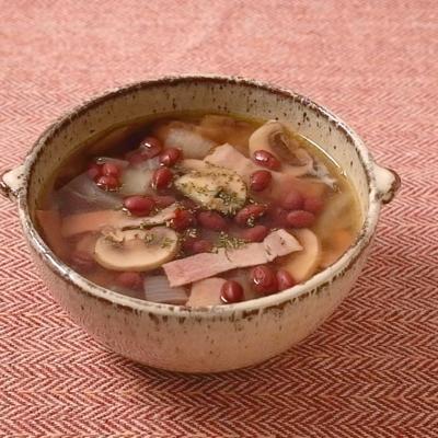 ゆであずきのコンソメスープ