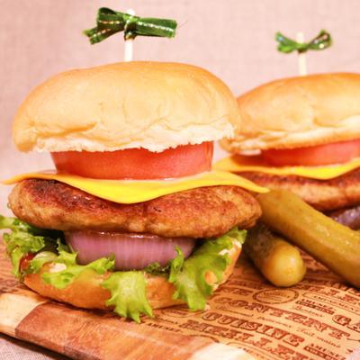 レンコンハンバーグのハンバーガー