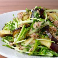 レンジで簡単 ナスと水菜のツナサラダ