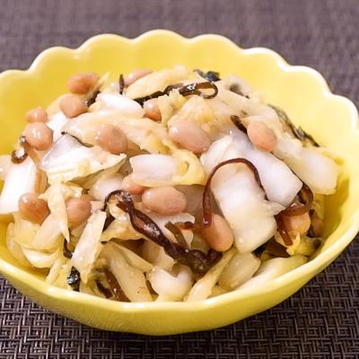 白菜と納豆の塩昆布和え