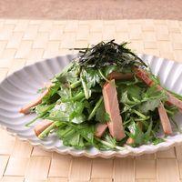 パクチー香る 水菜とチャーシューの簡単和え