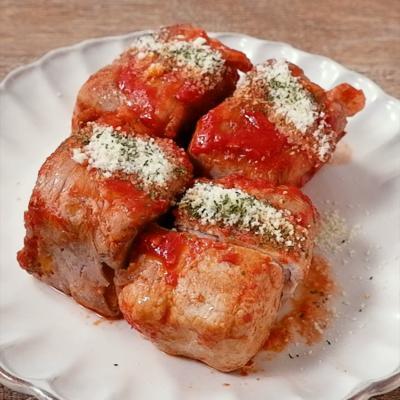 厚揚げのトマト肉巻き